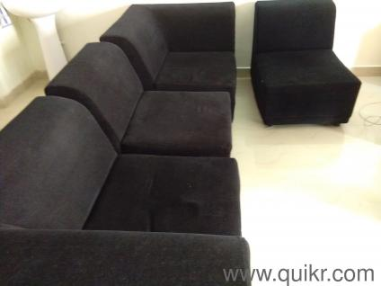 Elegant ALIA Black Contemporary Modular Sofa In Fabric
