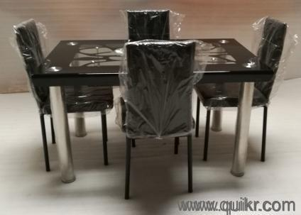 4 Seater Brand New Glass Top Dining Table For Sale